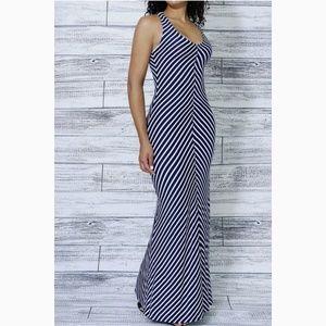 Merona Maxi Dress Navy & White Chevron